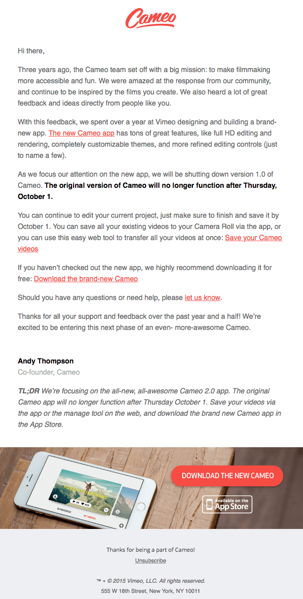 Cameo_accessible email