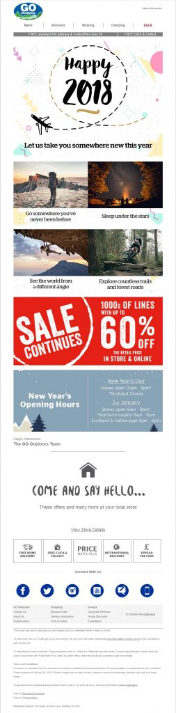 Go-Outdoors New Year Email