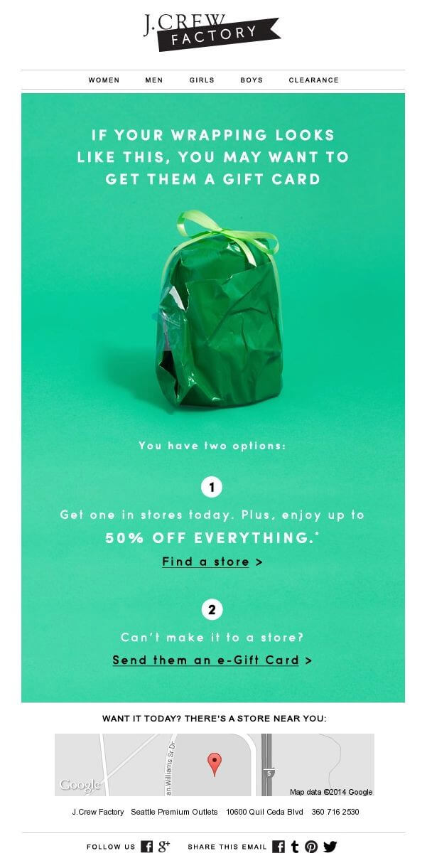 Jcrew Green color in email