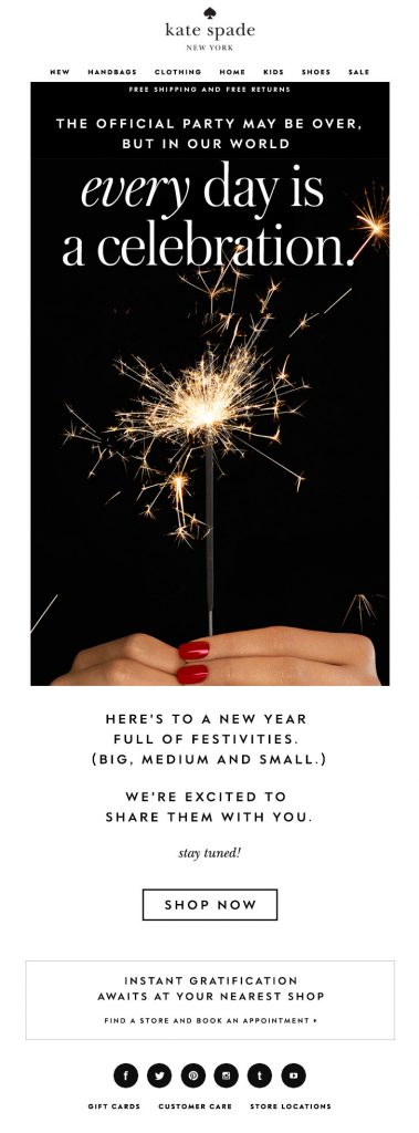 Kate-Spade New Year Email
