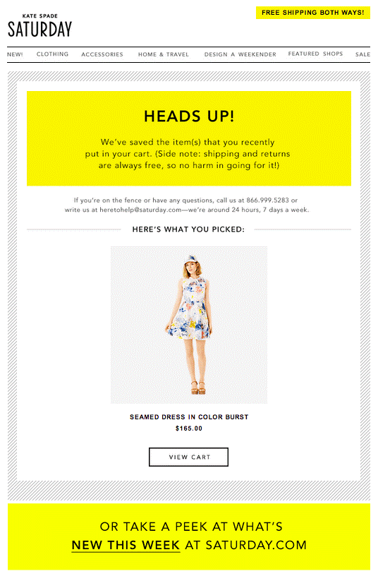 Kate Spade yellow color in email