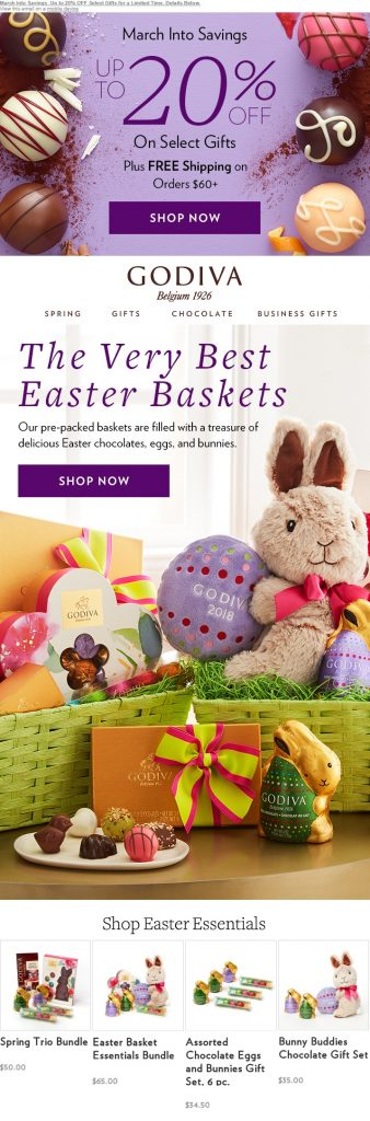 Godiva Chocolatier Easter Email