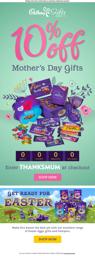 Cadbury Gifts Direct_Mother's Day Email