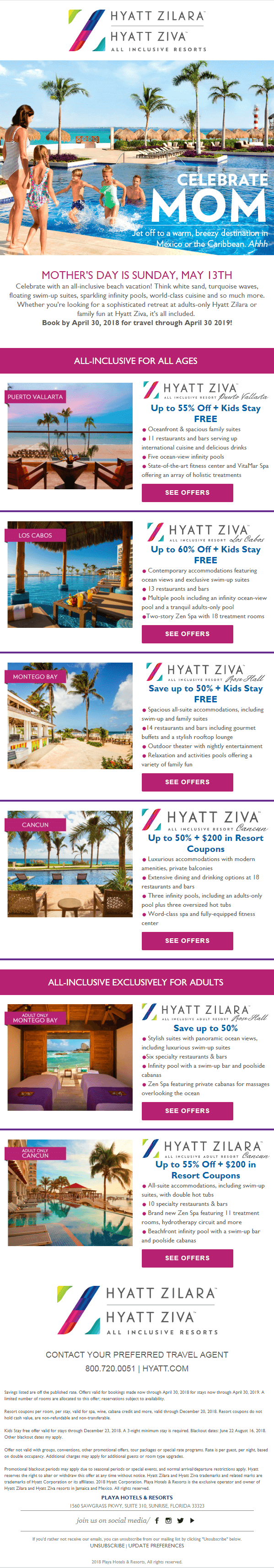 Playa Hotels & Resorts - Mother's Day Email template