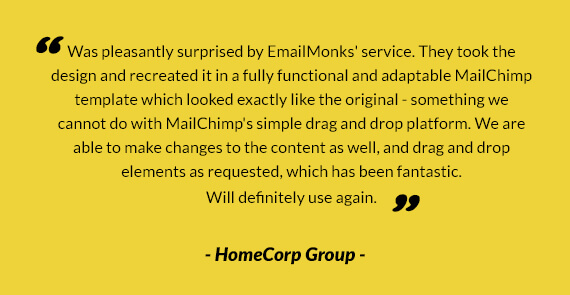 MailChimp Email Editor testimonial