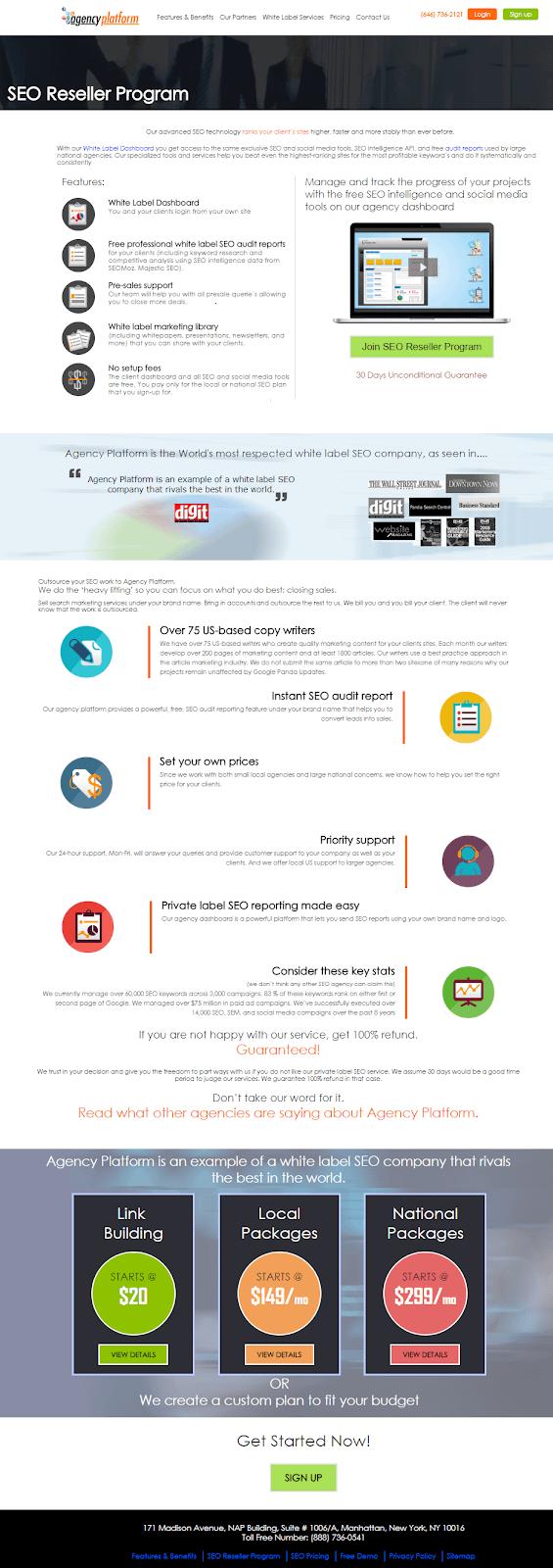 Agency Platform_Landing page