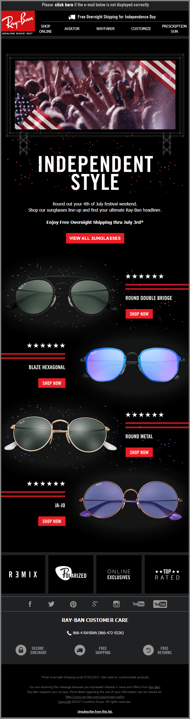 4th of July email templates Ray-Ban_Email