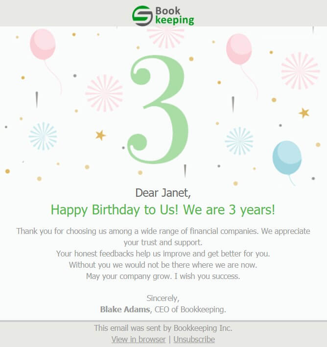 Bookkeeping Trending Email Template