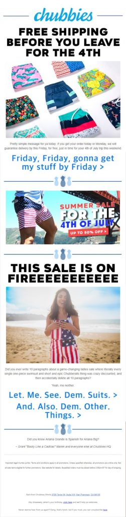 Chubbies Trending Email Template - html email template design