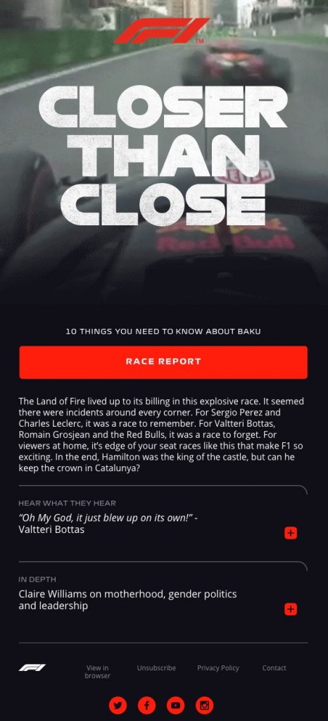 F1 Trending Email Template