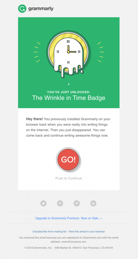 win back email campaign - Grammarly