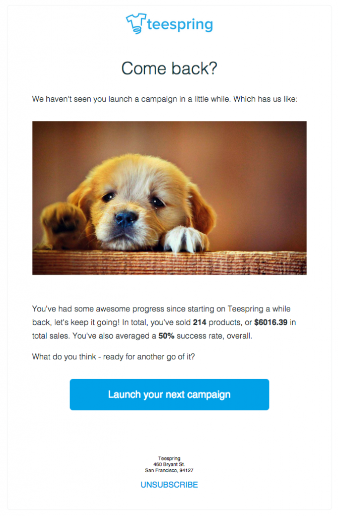 Tee Spring - win back email campaign