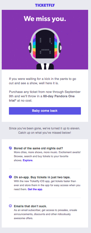 win back email campaign -TicketFly