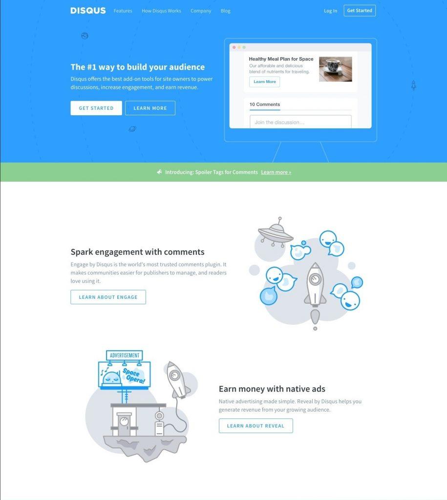 Disqus landing page design
