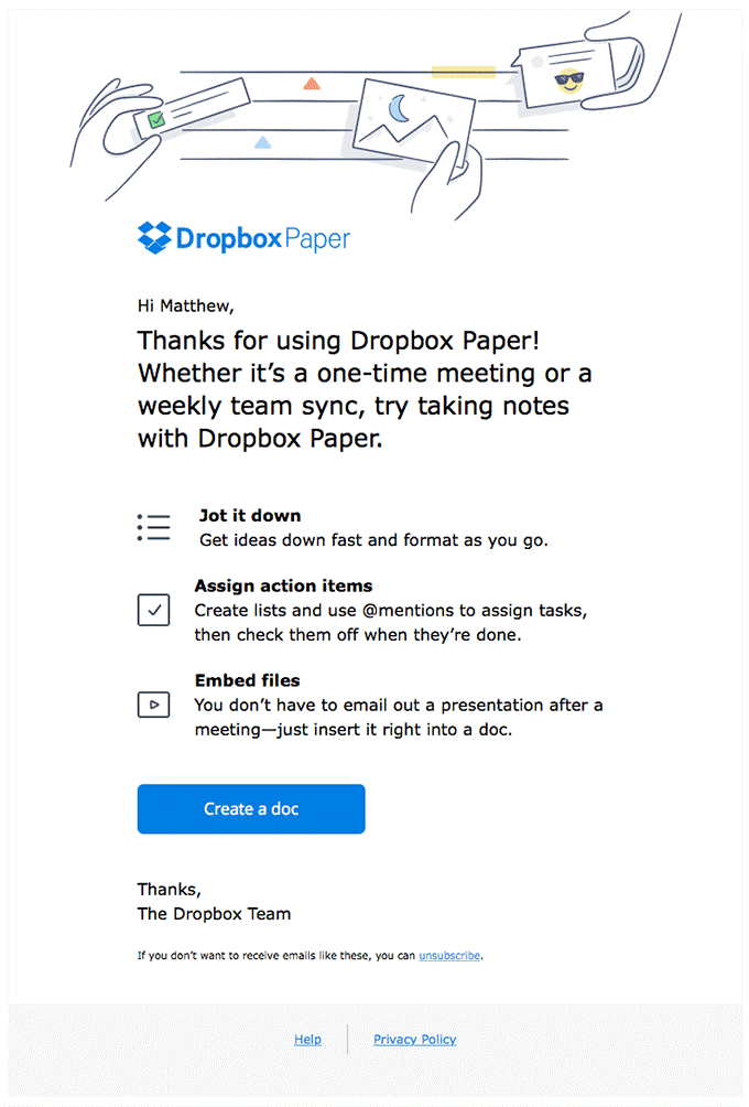Dropbox Paper Email Template