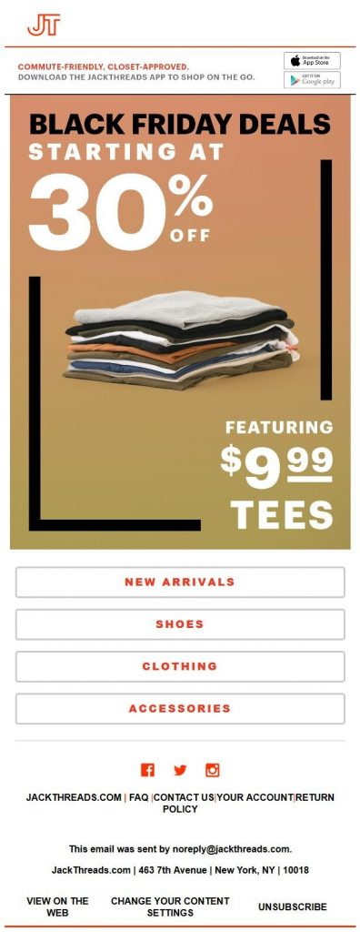 Jack Threads Email Template