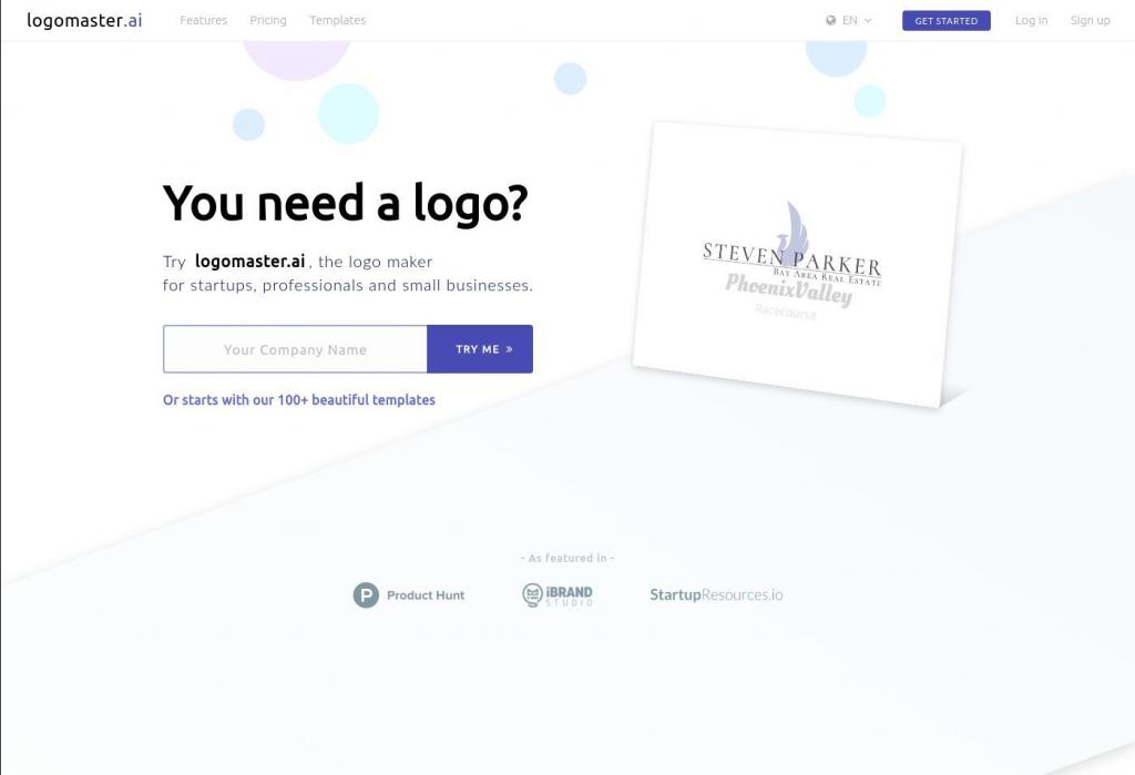 LogoMaster.ai landing page design