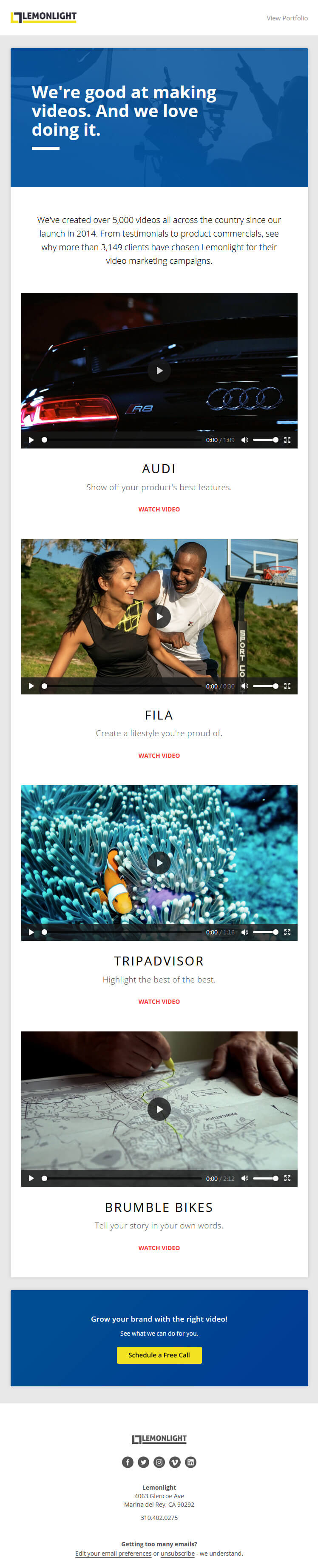 LemonLight Video in email examples