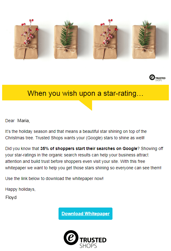 Trusted shops email