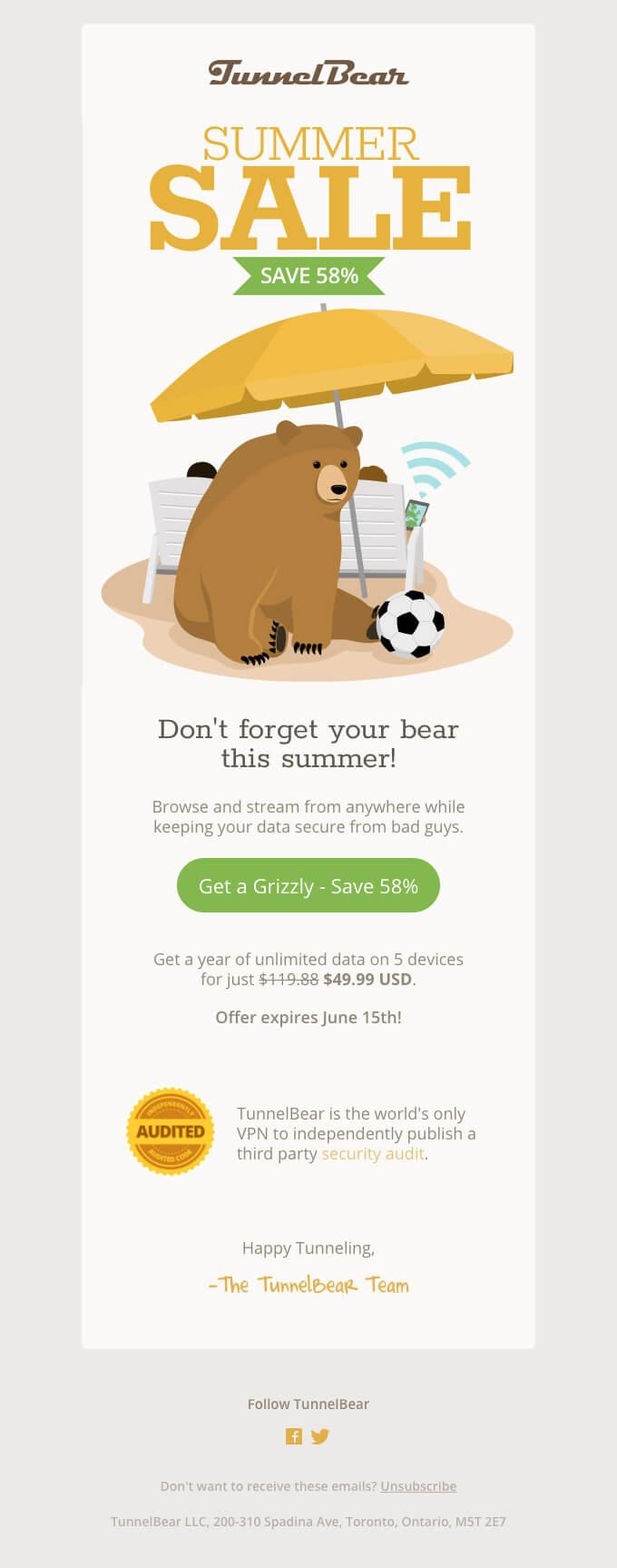 TunnelBear email design