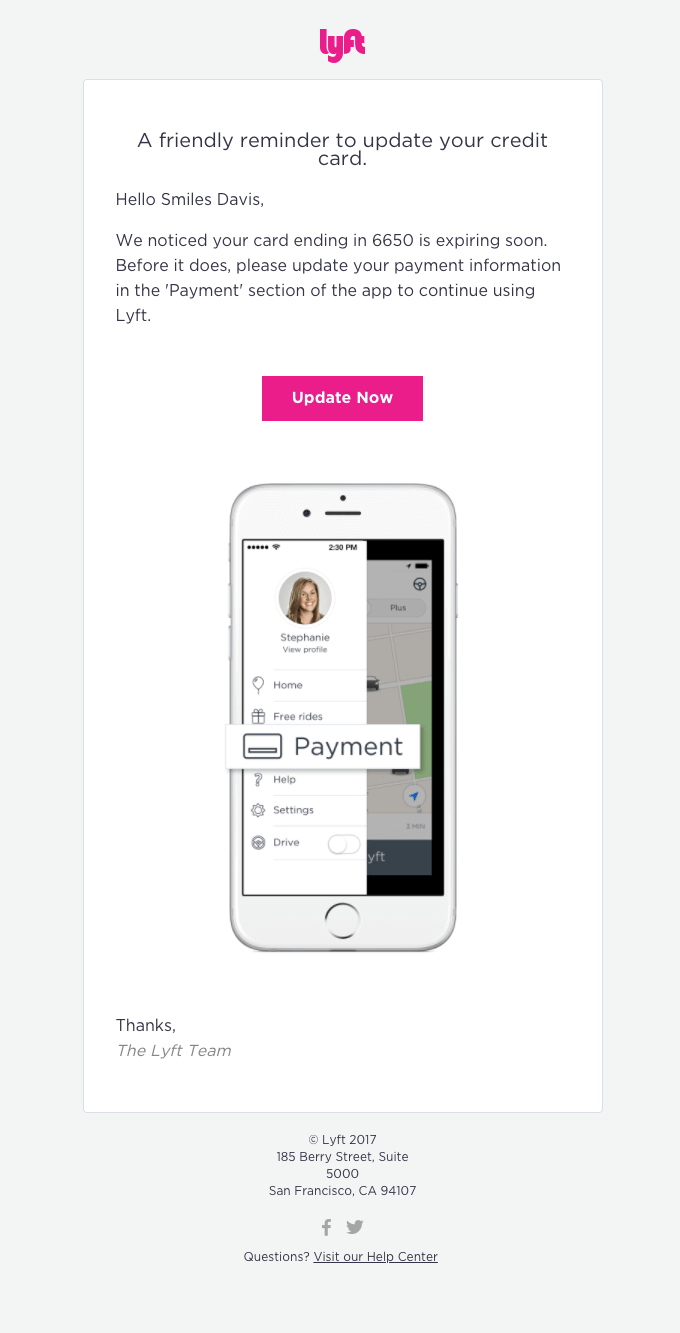 Lyft - Inverted Pyramid Functional Email Design