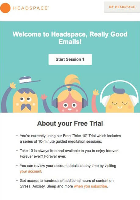HeadSpace Awareness stage email
