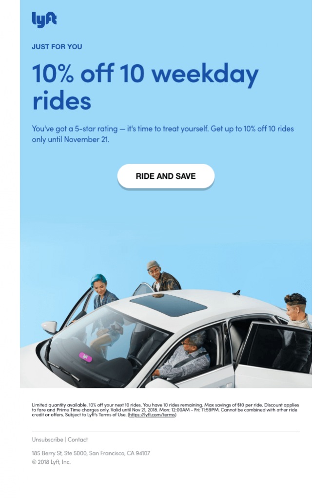 Lyft Post purchase stage email
