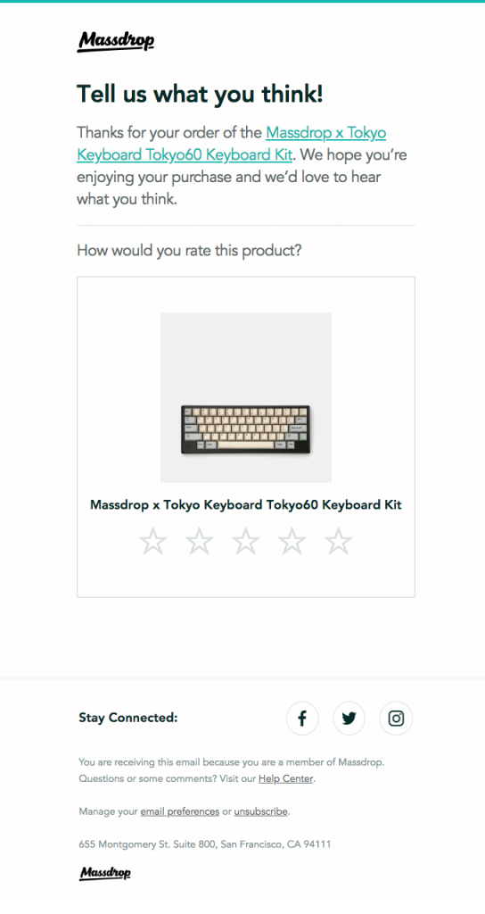 Massdrop Post purchase stage email