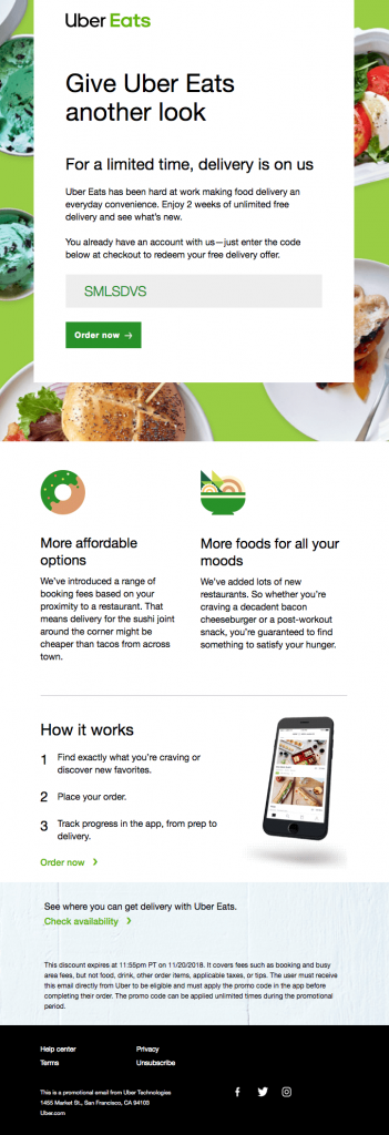 Uber Eats Purchase stage email
