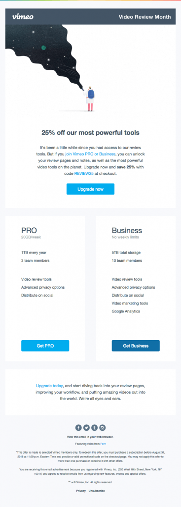 Vimeo retention stage email