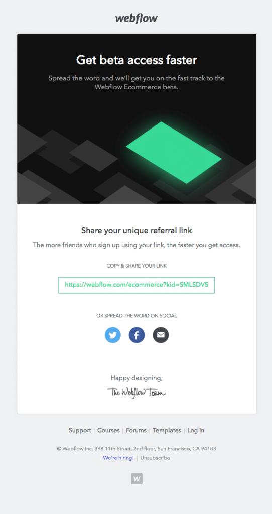 Webflow Advocacy stage email