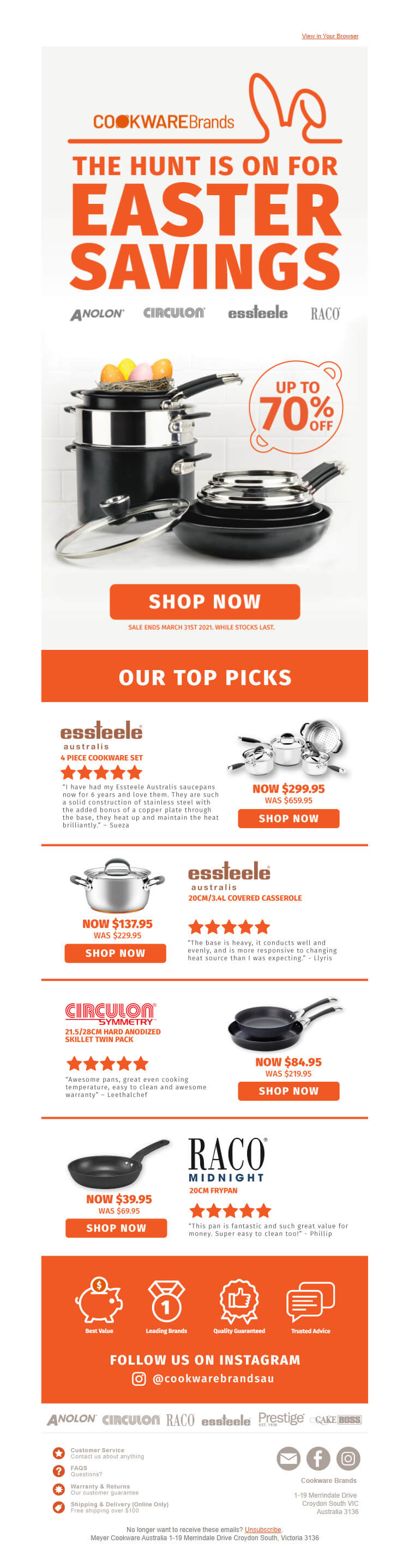 cookware brands easter email