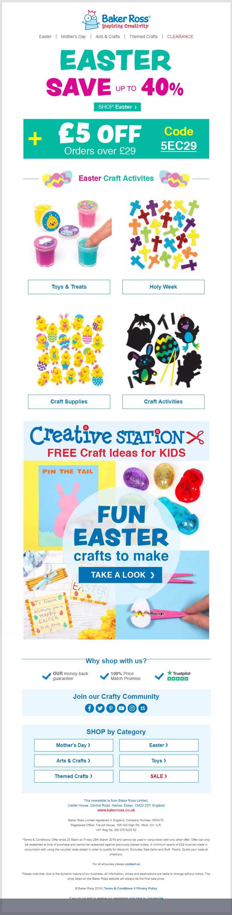 easter email campaign -baker ross