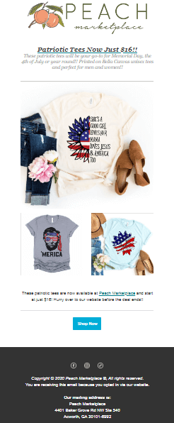 Peach Market 4th of July email