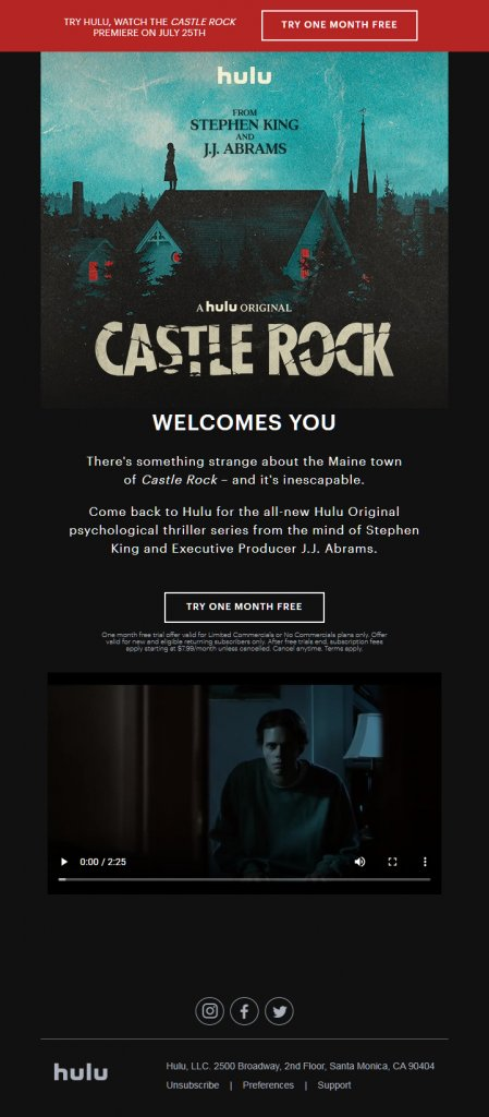"""hulu launched the series """"Castle Rock"""