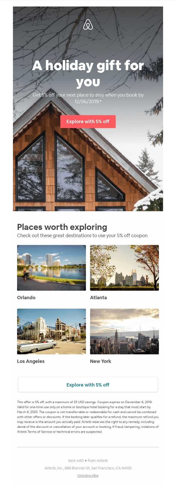 Holiday email marketing campaign - Airbnb