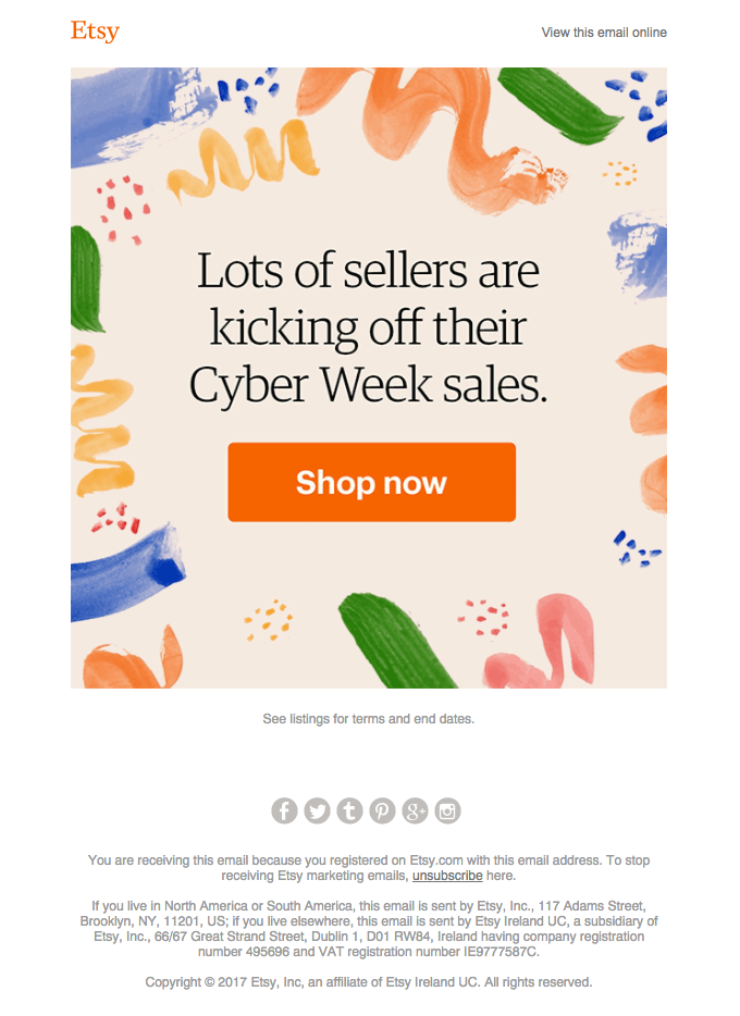 Etsy email template example