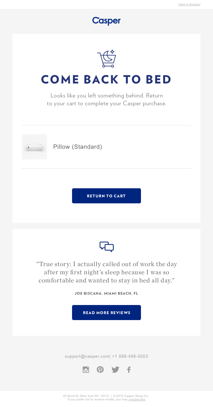 Abandoned Cart email template