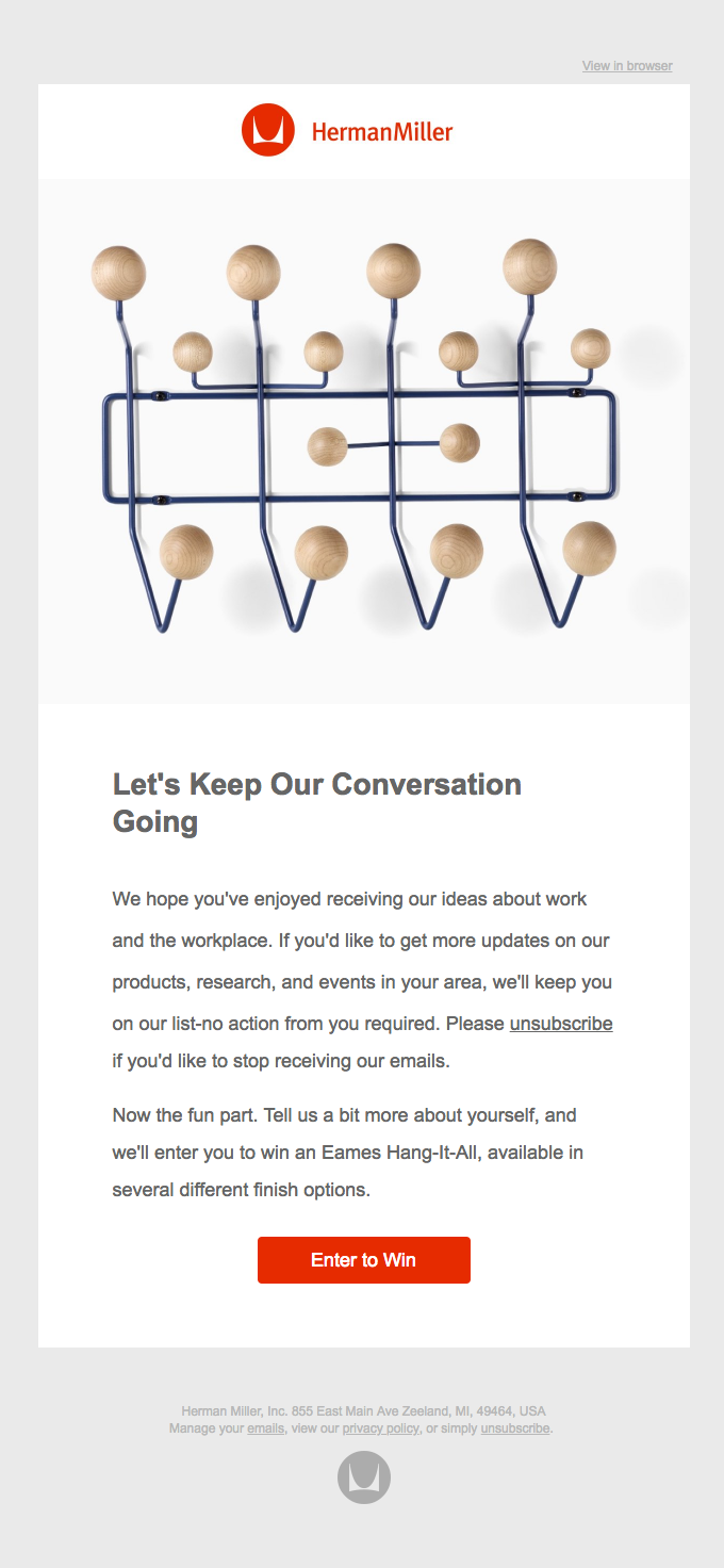 Example of email for engaging users