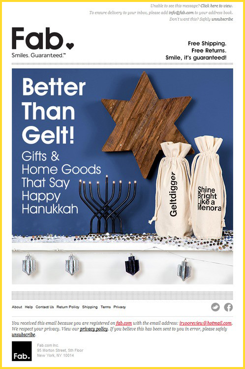 Hanukkah Holiday Email Template