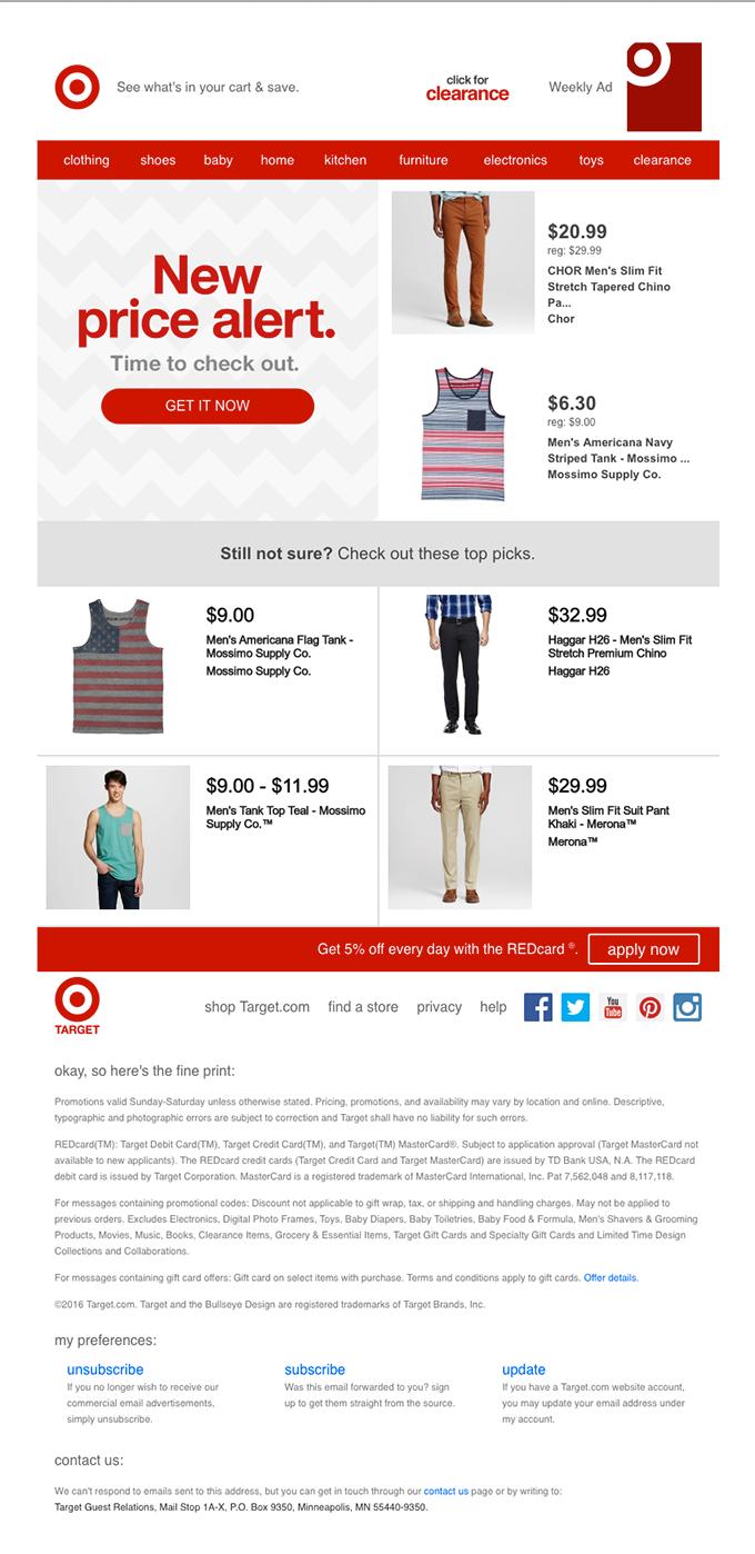 New price alert email