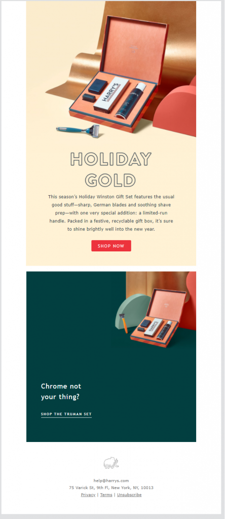 Holiday email template