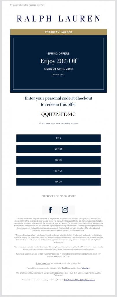 ralph lauren reward email