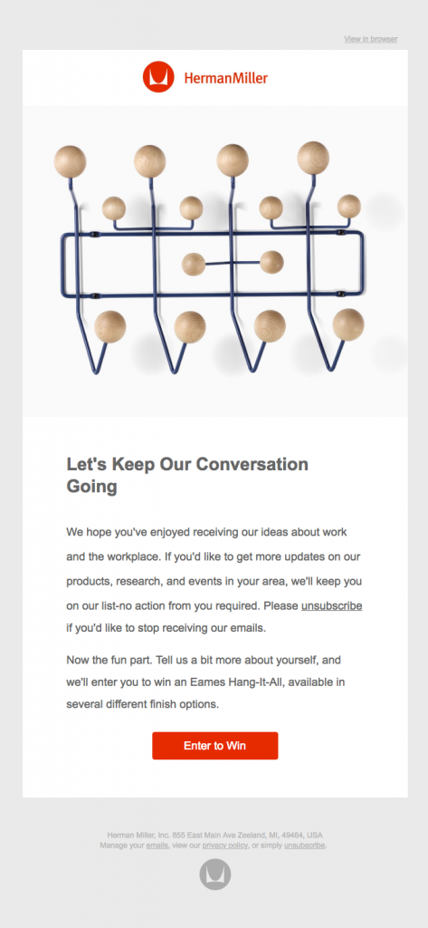 Customer engagement email example