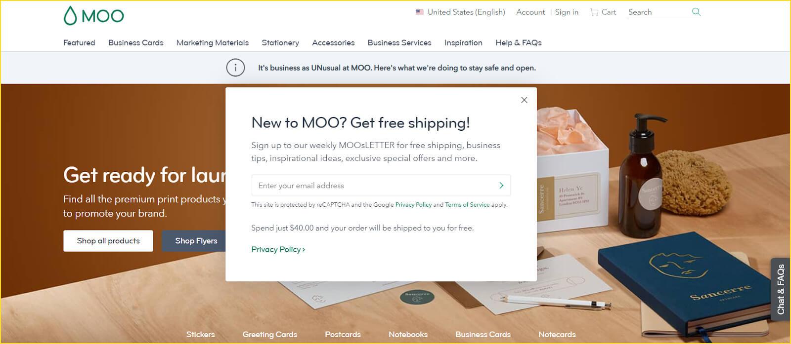 moo landing page