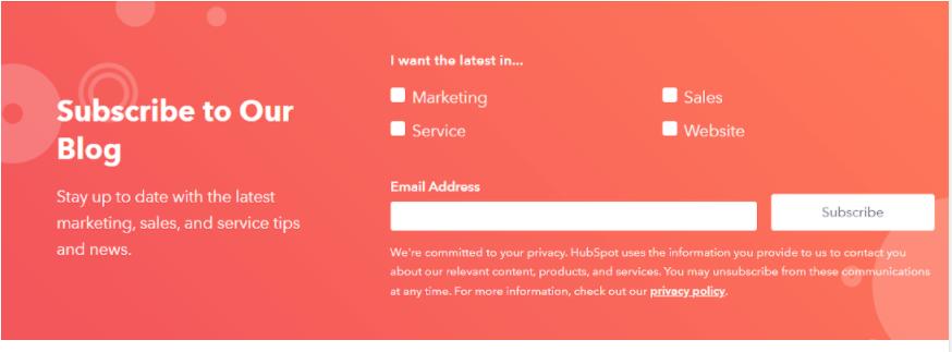 HubSpot subscription form