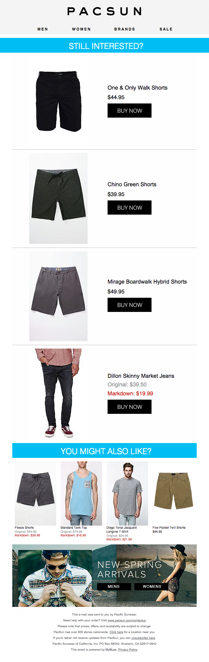 email template Pacsun