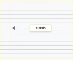 line representing the margin of the page