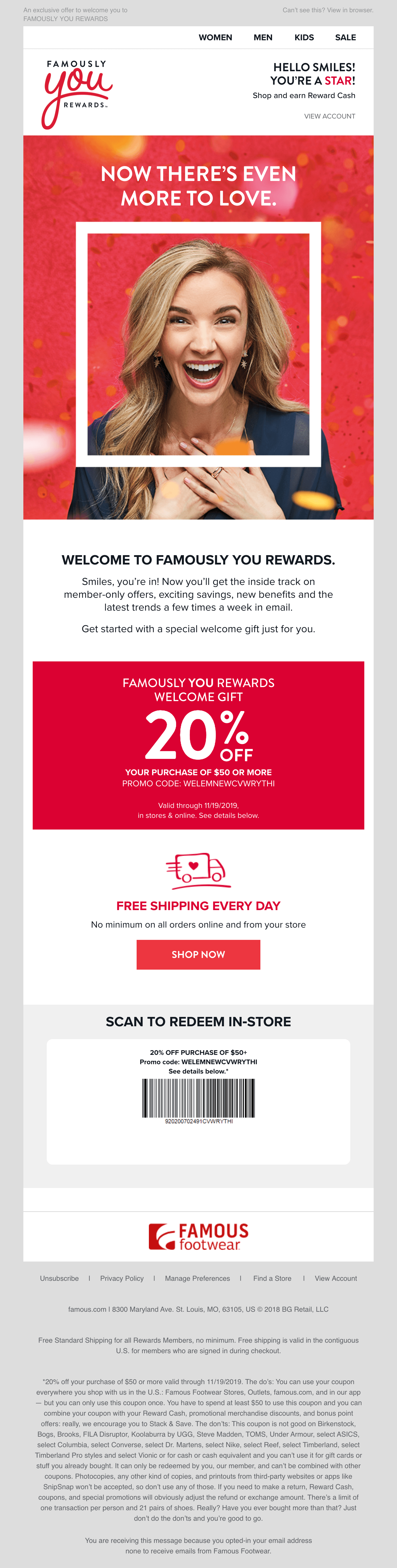 Sign-up offer email