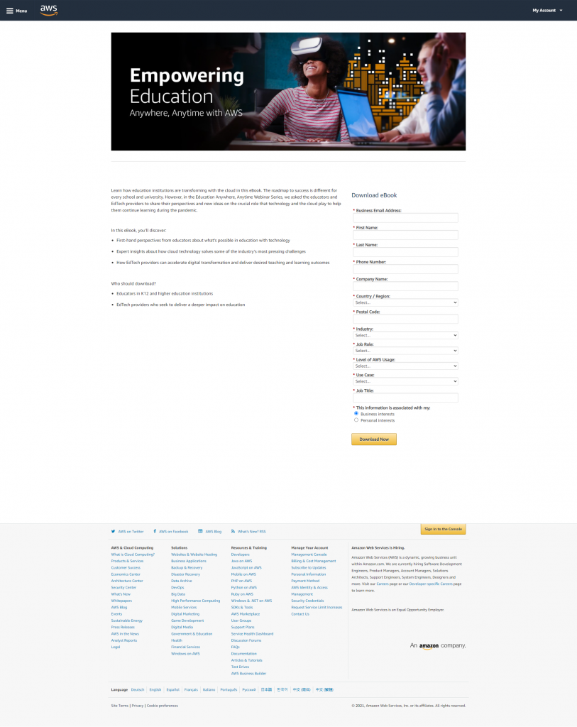 Landing Page For Downloadable Content